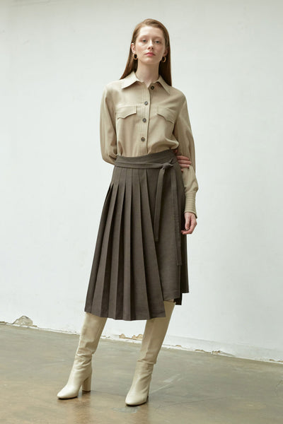 [NUVO10] SKIRT_asymmetric pleats skirt
