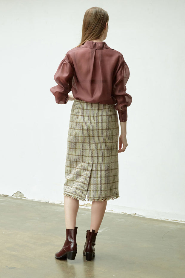 [NUVO10] SKIRT_pleat tweed skirt (Fabric from Italy)