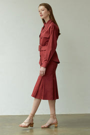 [NUVO10] SKIRT_burgundy belted skirt