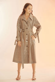 [NUVO10] TRENCH COAT_glossy check trench coat