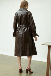 [NUVO10] TRENCH COAT_cracked vegan leather trench coat