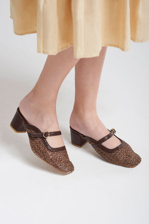 Weaved Toe Buckle Slippers-Brown