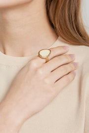 storets.com Weaved Waterdrop Ring-Ivory