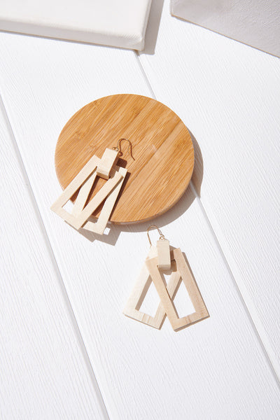 Wooden Rectangle Earrings-Beige