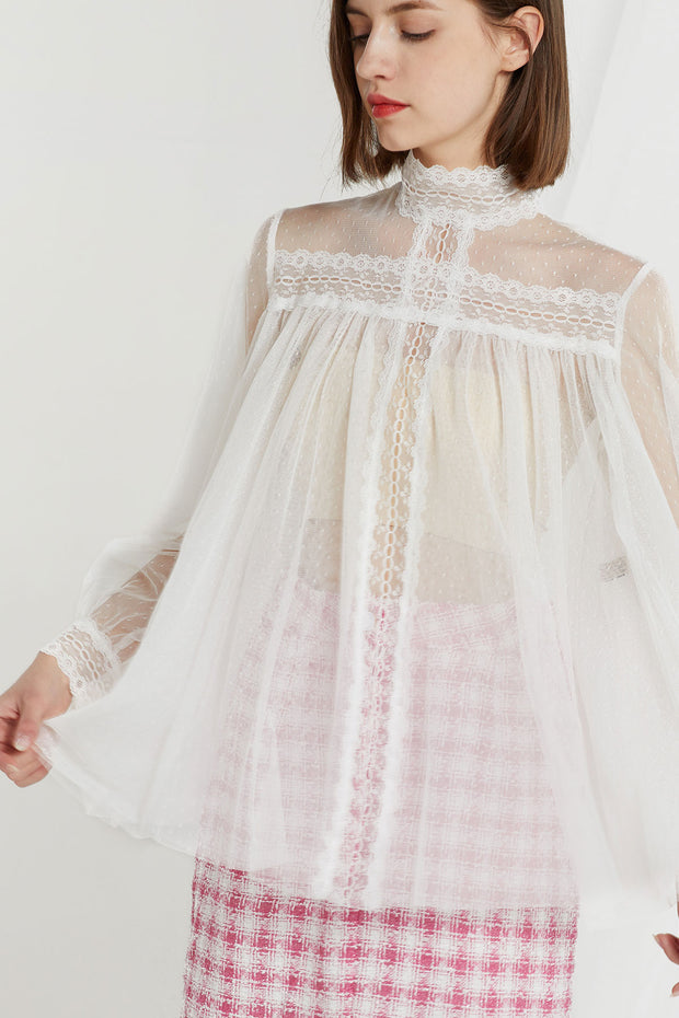 Wren Sheer Mesh Lace Blouse