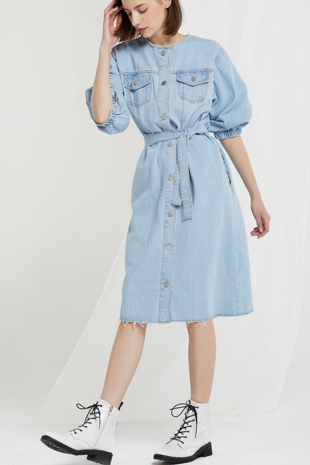 storets.com Xander Frayed Denim Dress