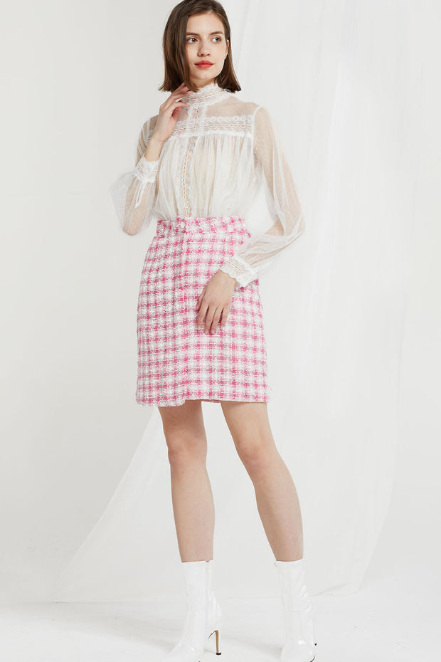 storets.com Zenia Grid Tweed Skirt