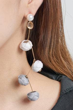 Zigzag Drop Ball Earrings-Ivory
