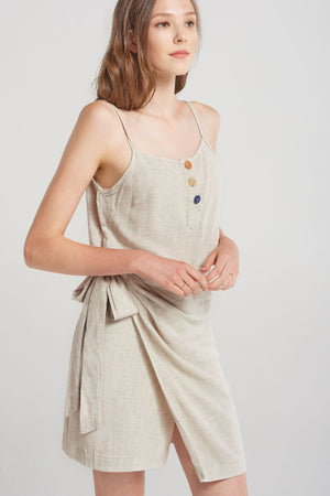 Zoe Button Singlet Top And Skirt Set-Beige