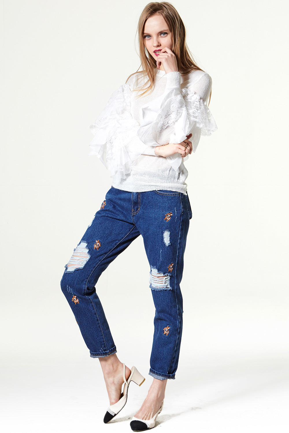 Oh My Deer Embroidery Jeans