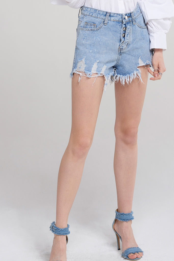 Abigail Button Denim Shorts