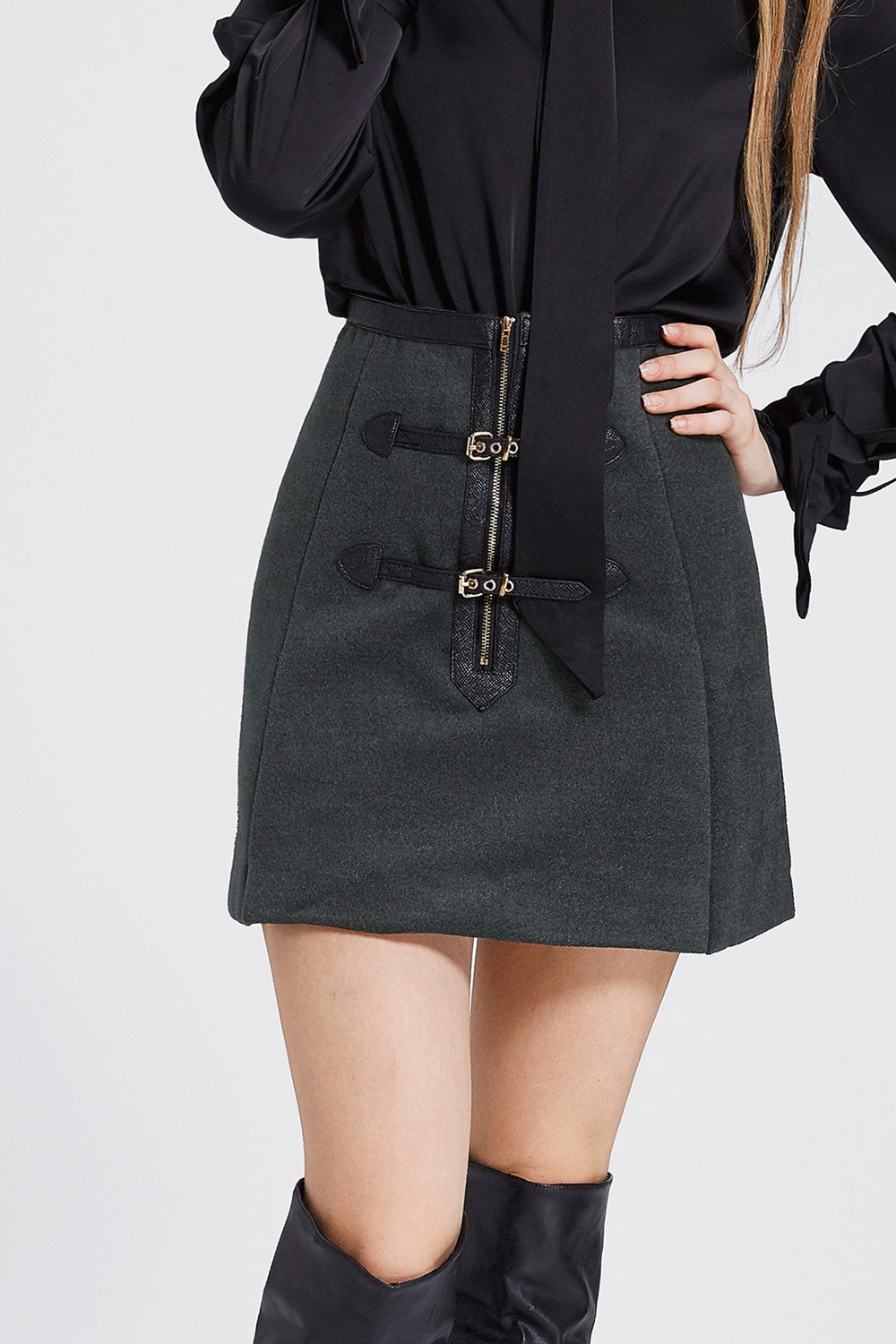 Agatha Belted Zipper Skirt