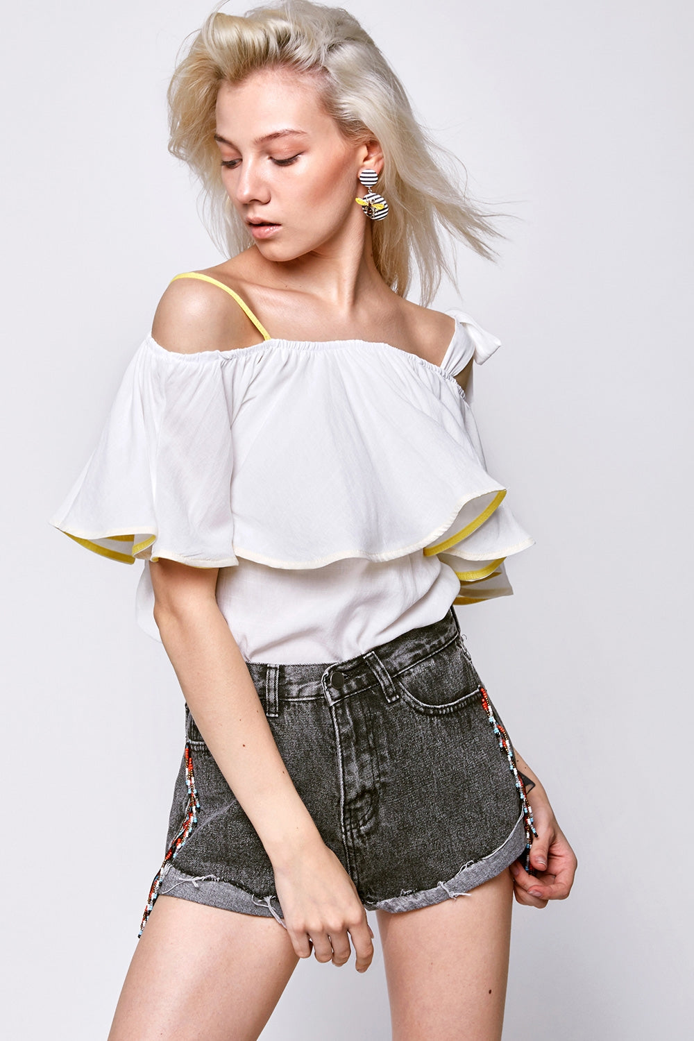 Aily Bow Shoulder Off-the-Shoulder Top