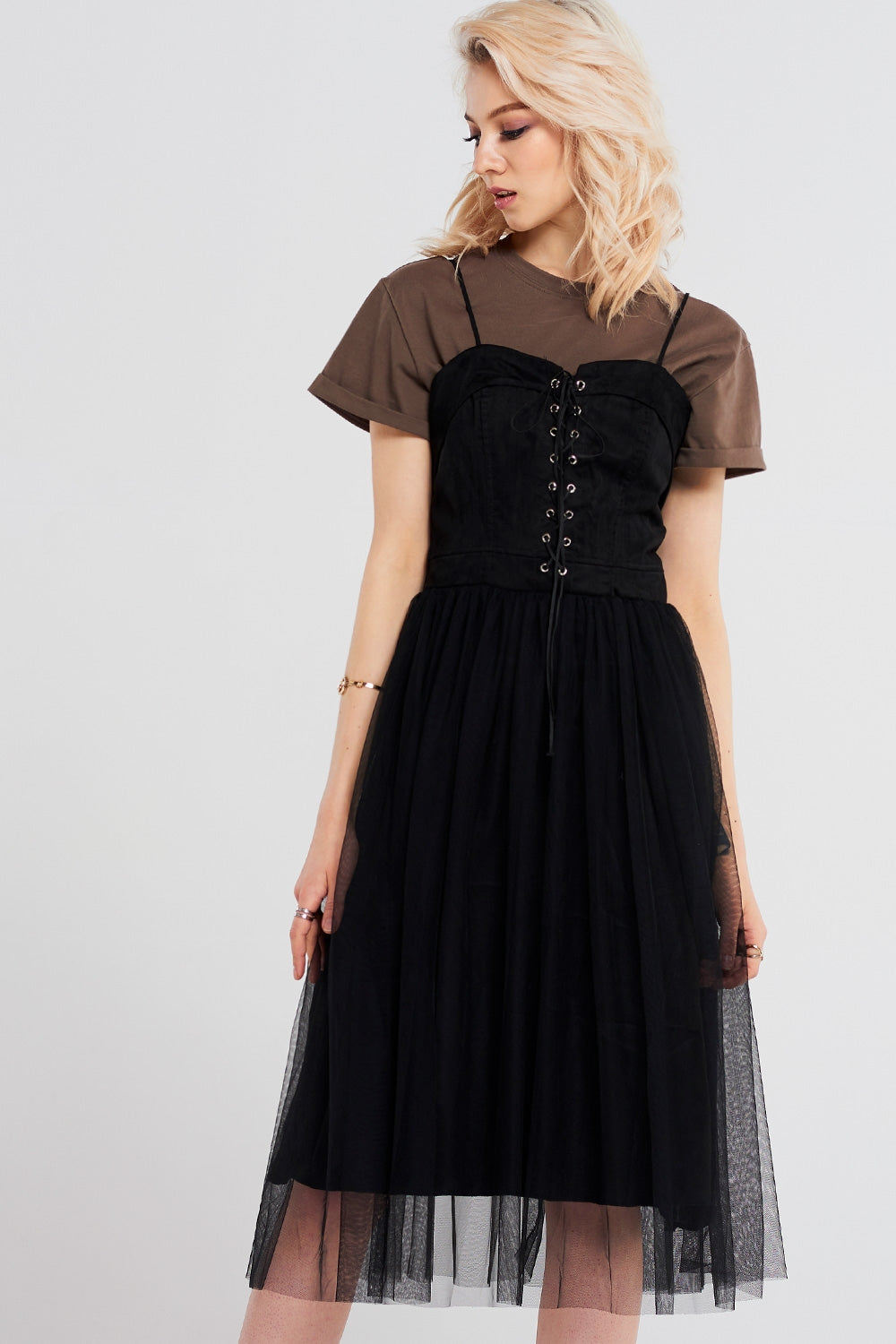 Aimee Lace-up Meshed Dress