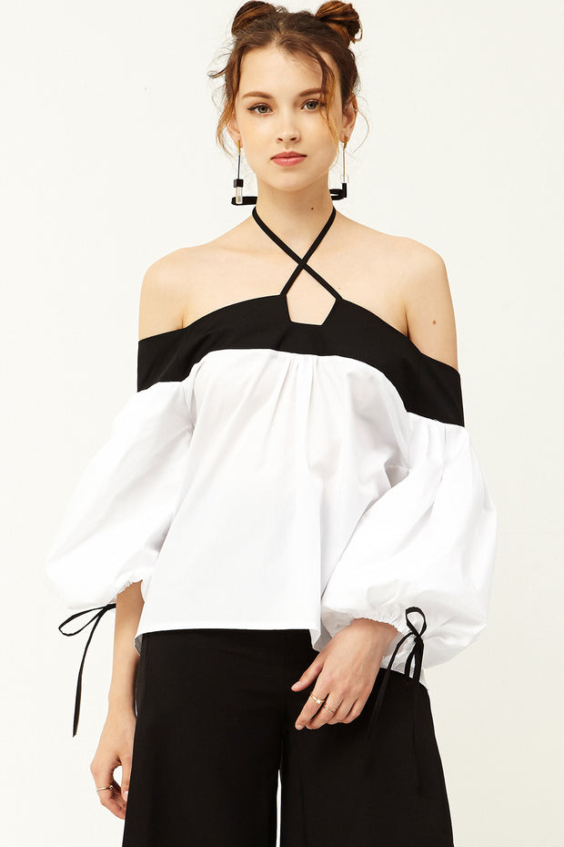 Amy Halter Neck Off-the-Shoulder Top