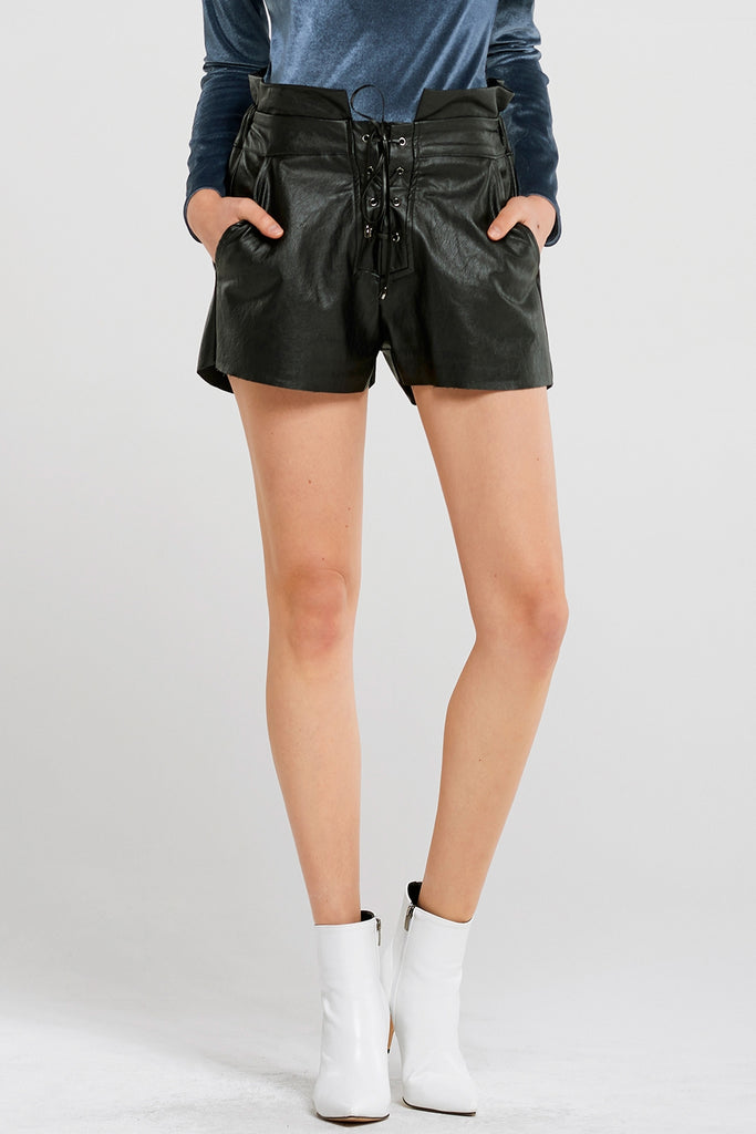 Brandy Strappy Leather Shorts