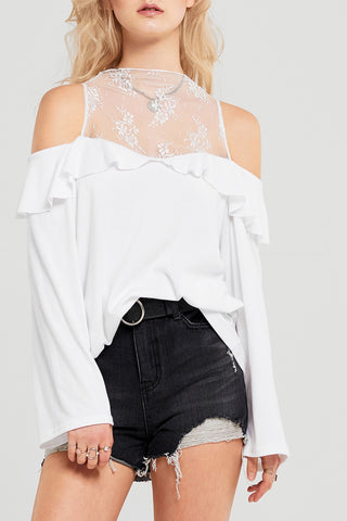 Brianna Lace Cold Shoulder Top