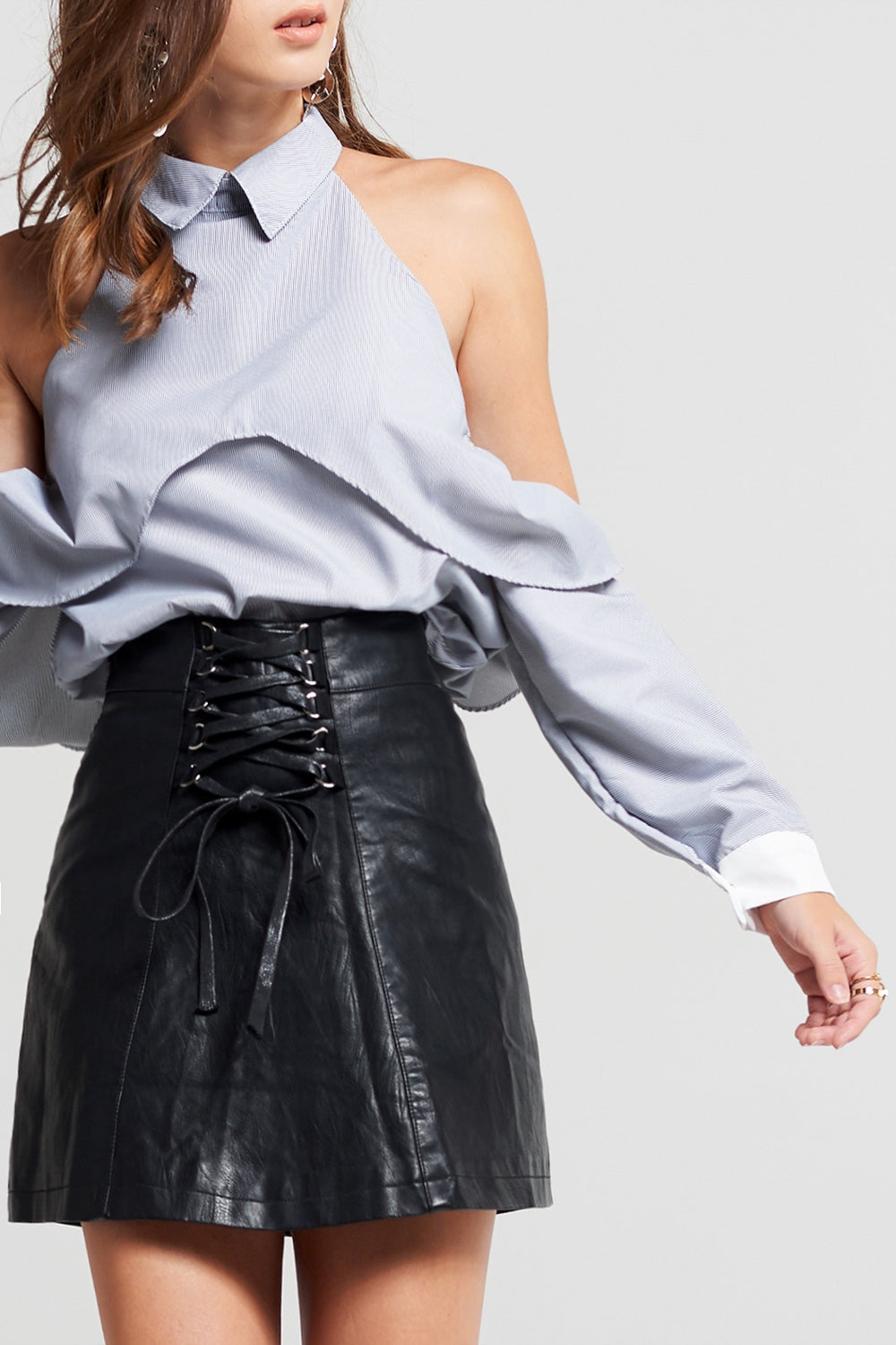 Britt Lace-Up Leather Skirt