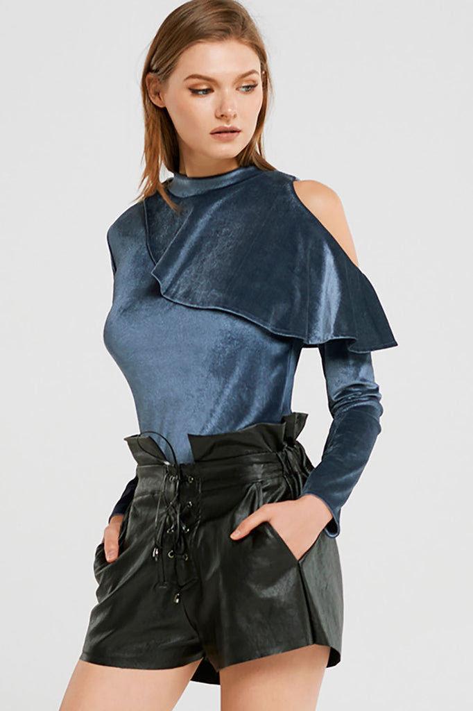 Carmen Ruffle Cold Shoulder Velvet Top