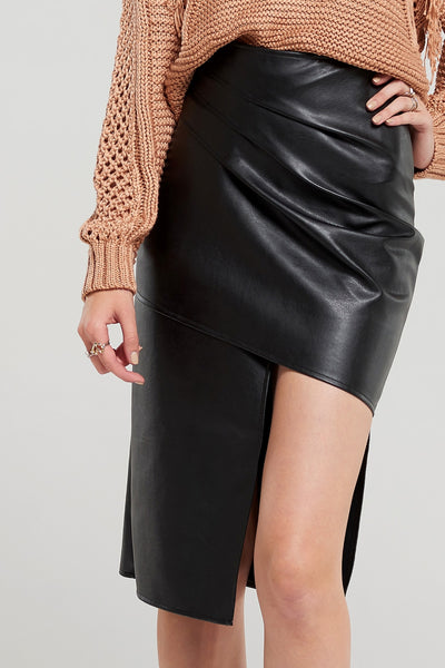 Carol Faux Leather Asymmetric Skirt