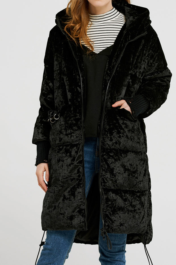 Ciara Ring Pocket Velvet Padded Coat