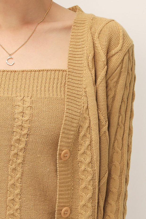 storets.com Adelyn Cable Knit Cardigan 2-Piece Set