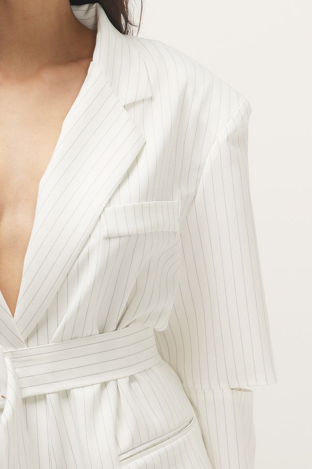 storets.com Elliott Pin Striped Cutout Sleeve Blazer