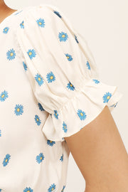 Kelly Daisy Printed Smocked Top