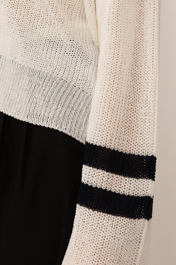 Maeve Striped Sleeve Knitted Sweater