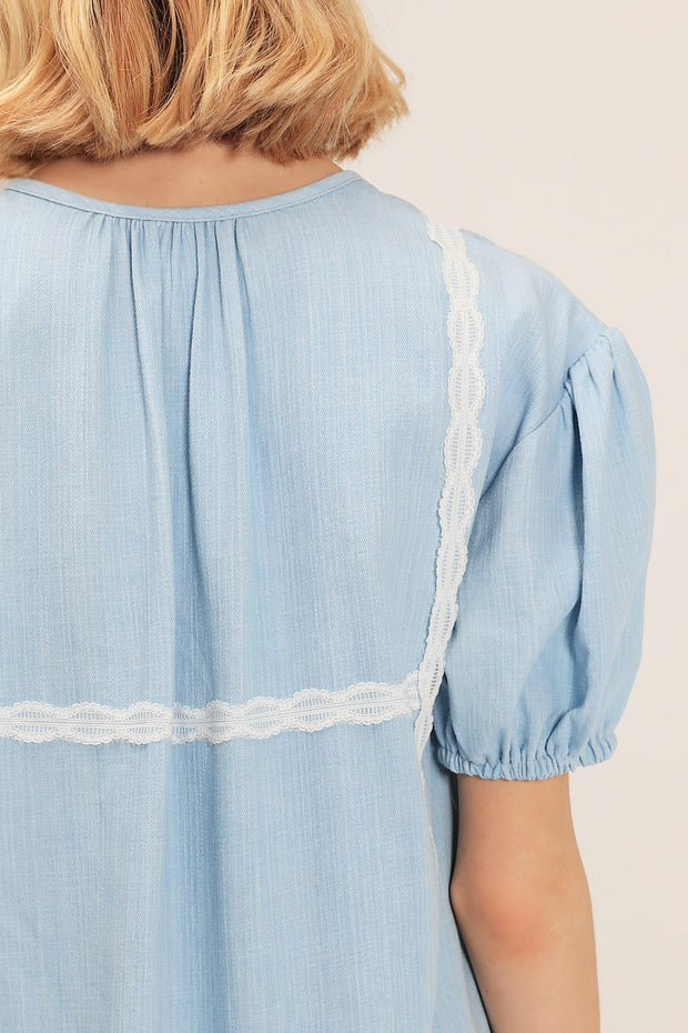 Alice Lace Trim Denim Dress