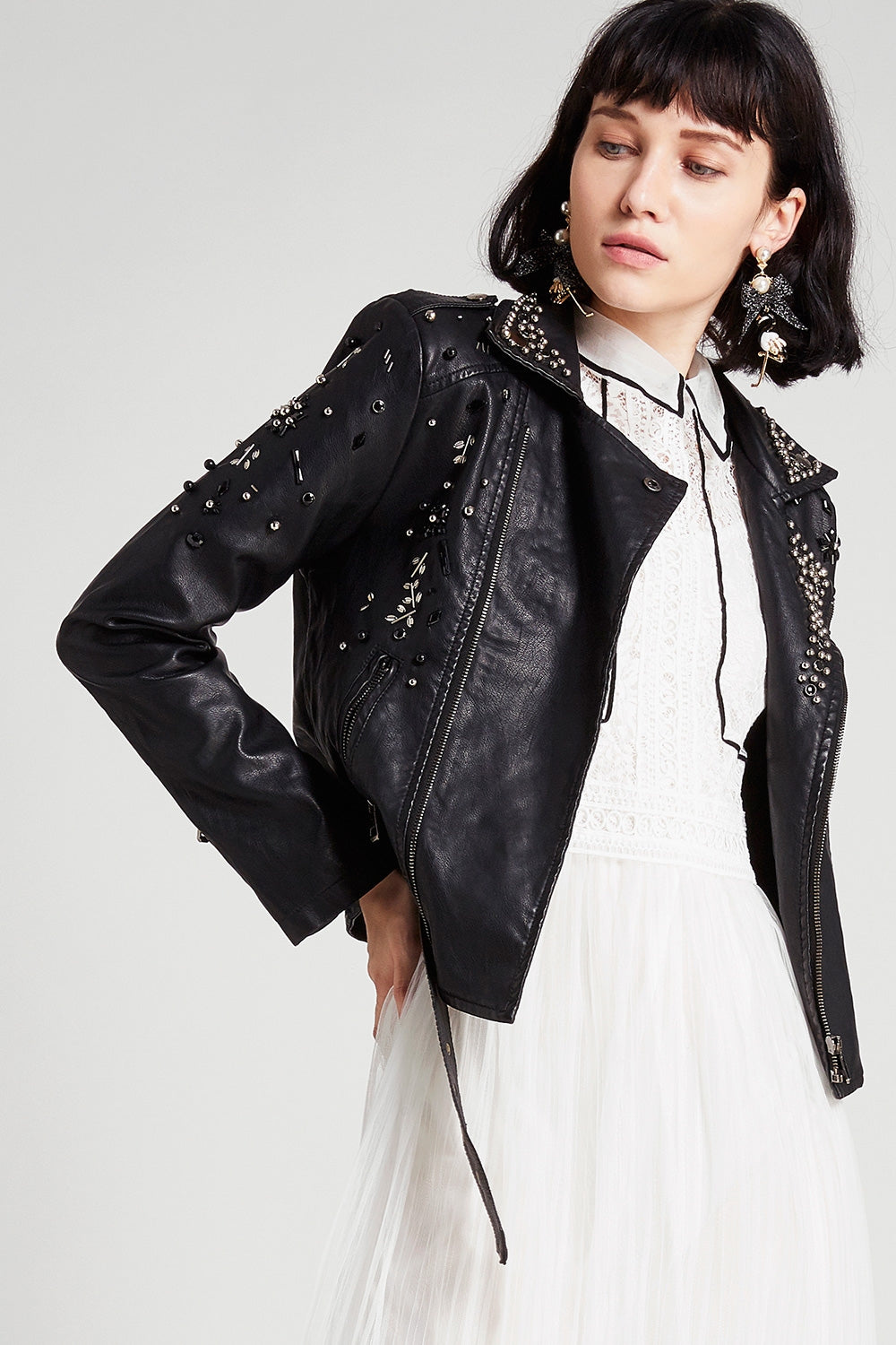 Deborah Beaded Leather Jacket