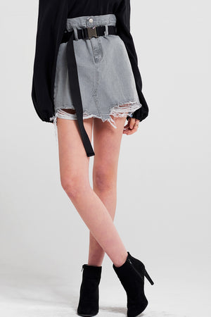 Virginia Belted Denim Skirt
