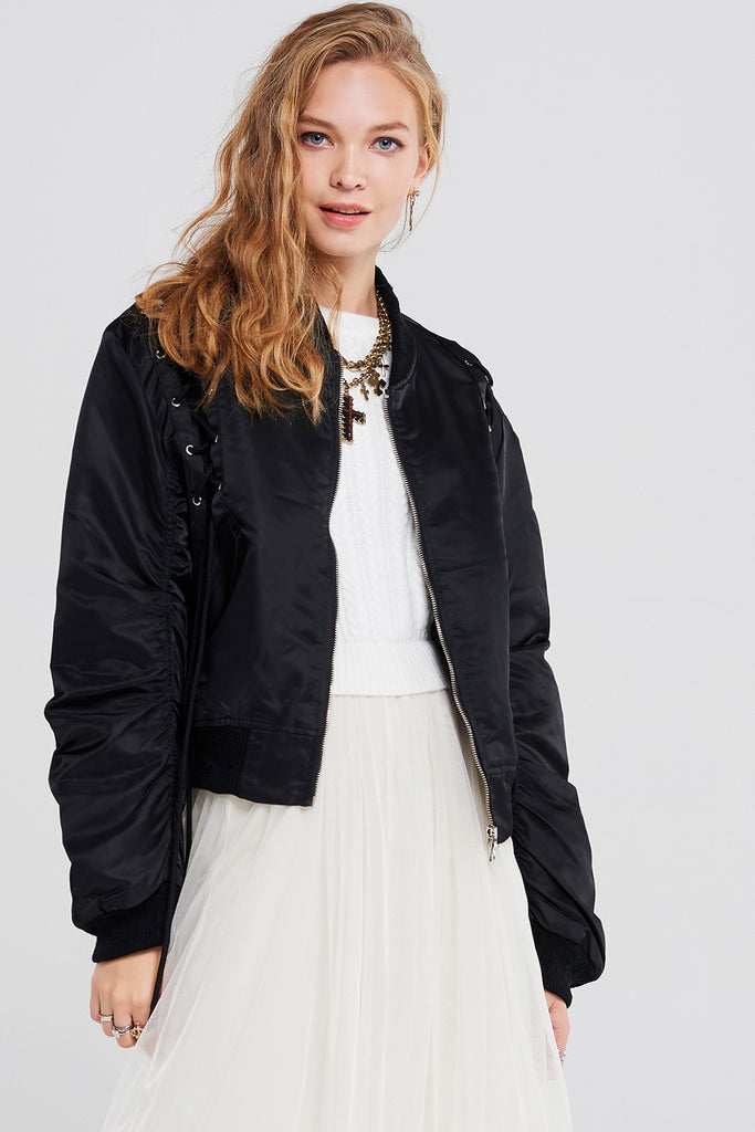 Diva Satin Bomber Jacket