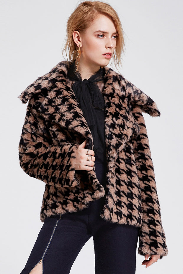 Jinny Houndstooth Faux Fur Jacket