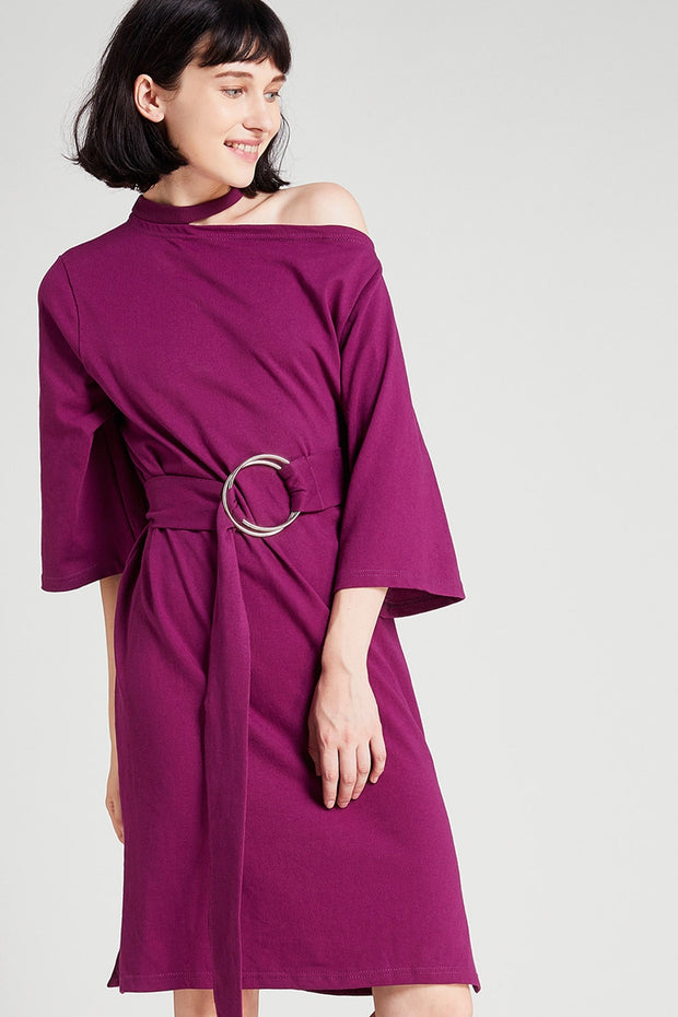 storets.com Ellen Choker Neck Belted Dress