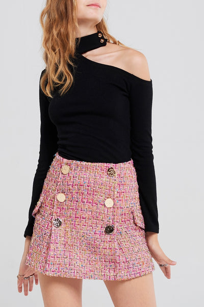 Hera Tweed Classic Skirt-Pink