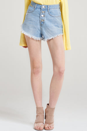 Hermione Frayed Denim Shorts