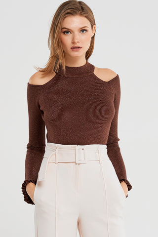 Ivana Shiny Cold Shoulder Top