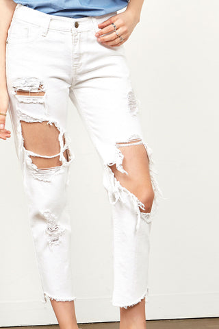 Kalisa Distressed White Jeans