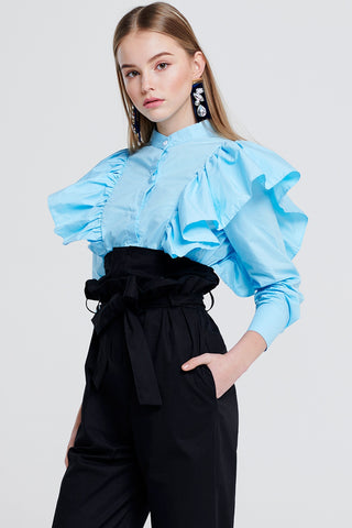 Lyn Ruffle Shoulder Blouse