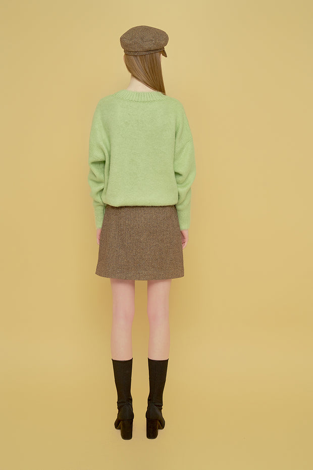 [MARGARIN FINGERS] herringbone button skirt