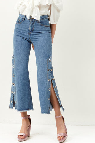 Meri Side Slit Button Jeans