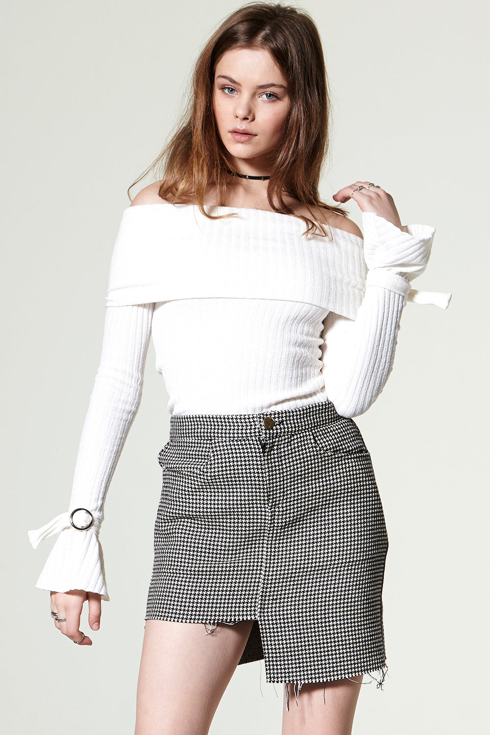 Deni Unbalance Check Skirt