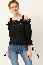 Drea Lace Cold Shoulder Top