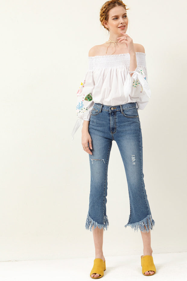 Kristanna Frayed Cropped Jeans
