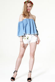 storets.com Haily Embroidery Denim Shorts