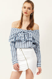 Ann Stripe Off-the-Shoulder Blouse