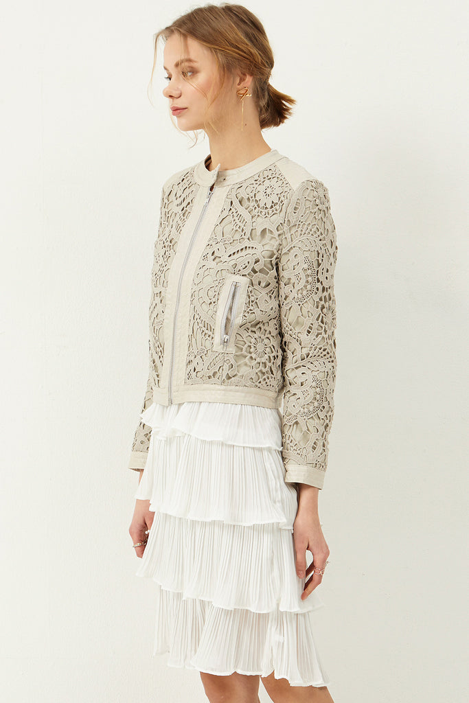 Ella Embroidery Leather Jacket