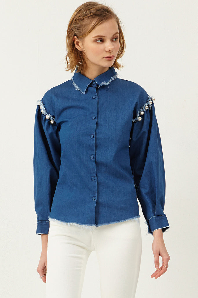 Jena Pearl Denim Shirt