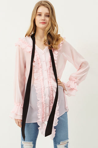 Cindy Tie Ruffle Blouse